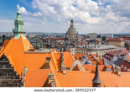 Dresden from the above, bright orange roofs, Germany - stock photo