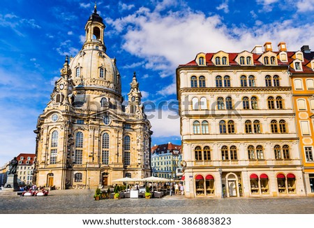 Dresden, Germany. Frauenkirche in the ancient city of Dresda, historical and cultural center of Free State of Saxony in Europe. - stock photo
