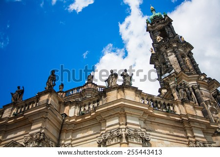Dresden, Germany in a beautiful summer day. Historical and cultural center of Europe. Cathedral of the Holy Trinity aka Hofkirche Kathedrale Sanctissimae Trinitatis - stock photo