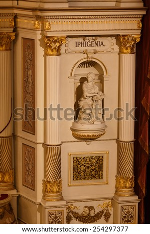 Dresden, Germany, January 04 2015:  Statue in the wall of Dresden Opera House i - stock photo