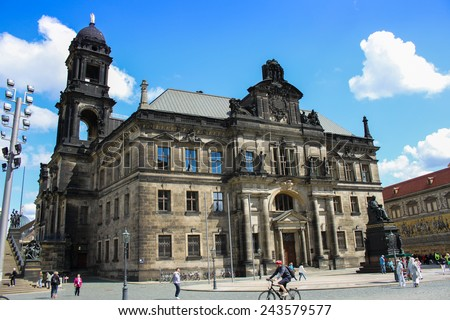 DRESDEN, GERMANY - JUNE, 20th, 2014: St���¤ndehaus in Dresden, Germany with lot of people in front of it on 20th June 2014. - stock photo