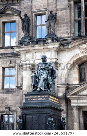 DRESDEN, GERMANY - MAY 12, 2013: Sculpture of Friedrich August in Zwinger Palace. Historical Monument of King. - stock photo