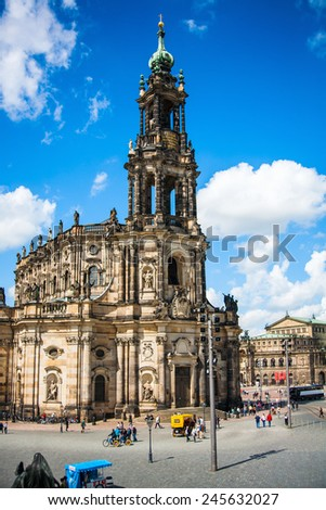 DRESDEN, GERMANY - MAY 12, 2013: The ancient city. Historical and cultural center of Europe. Cathedral of the Holy Trinity aka Hofkirche Kathedrale Sanctissimae Trinitatis - stock photo