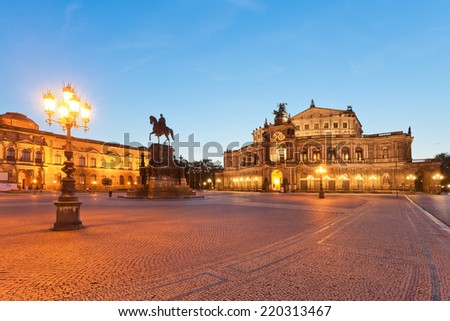Dresden - Germany - Semper opera at dawn - stock photo
