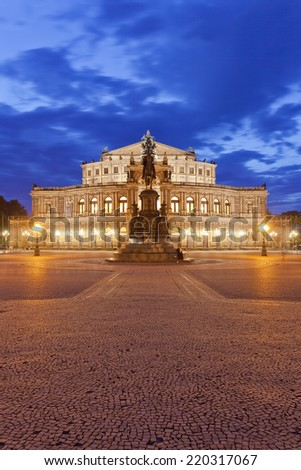 Dresden - Germany - Semper opera at twilight - stock photo