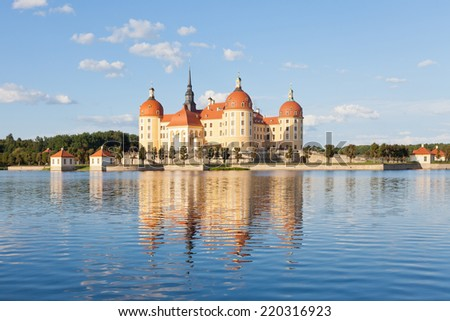 Dresden - Germany - Water reflection of Moritzburg - stock photo