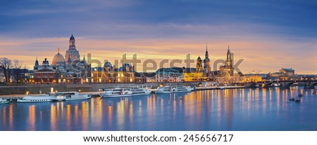 Dresden. Panoramic image of Dresden, Germany during sunset with Elbe River in the foreground. - stock photo