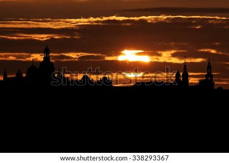 Dresden skyline at sunset illustration - stock photo