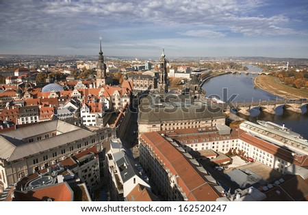 Dresden. View over the city from Frauenkirche - stock photo