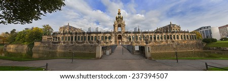 Dresden Zwinger palace panorama with channel and park, Germany  - stock photo