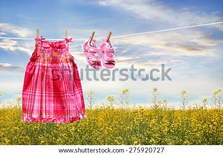 Dress and sandals on clothesline in summer fields - stock photo