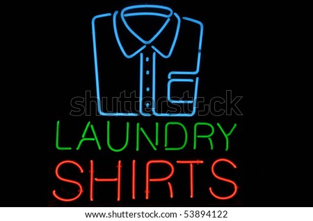 Dress Shirt with Pocket Neon Light Sign - stock photo