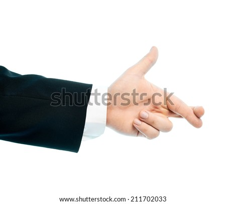 Dressed in a business suit caucasian male hand gesture sign of two crossed for luck fingers, high-key light composition isolated over the white background - stock photo