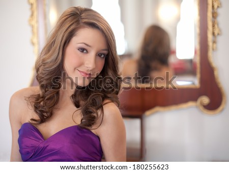 Dressed Up Teen in Front of Fancy Mirror - stock photo