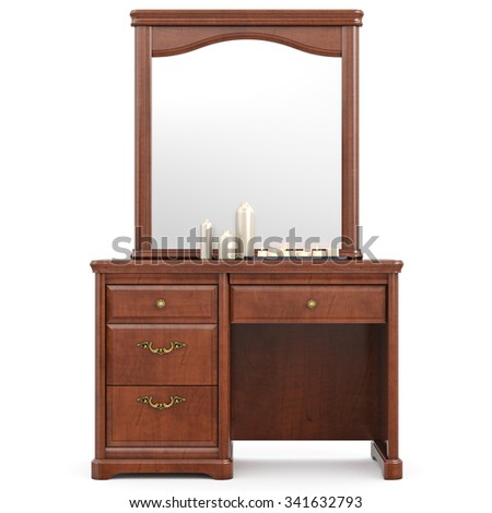 Dresser with mirror, front view. 3D graphic isolated object on white background - stock photo