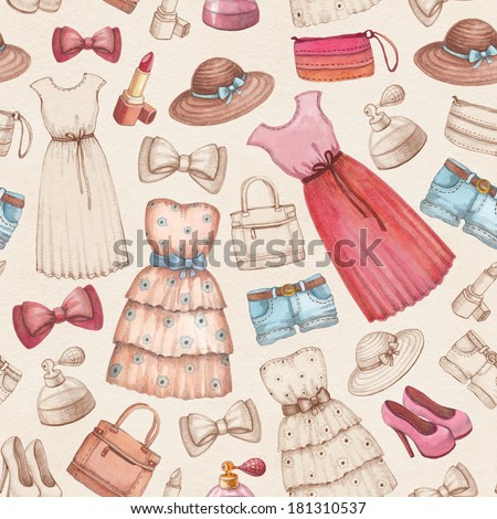 Dresses and accessories pencil drawings. Seamless pattern - stock photo