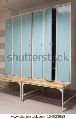 dressing room detail in a gym - stock photo