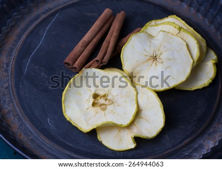 Dried apples and cinnamon, selective focus - stock photo