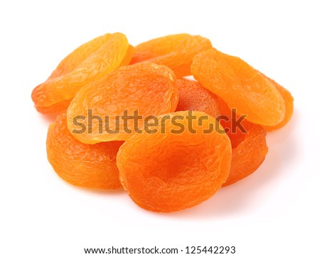 Dried apricot on a white background - stock photo