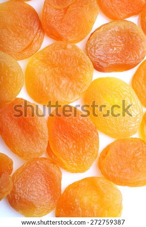 Dried apricots on white background - stock photo