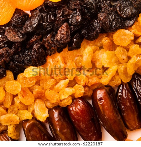 dried apricots, raisins and  dates - stock photo