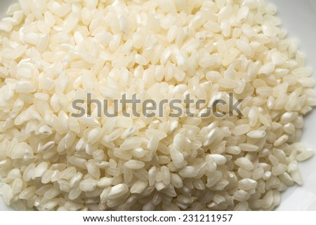 Dried Arborio variety of rice used in the Italian Risotto food dishes. - stock photo