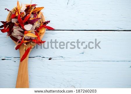 Dried aromatherapy plants,  herbal tea,  homeopathic medicine. - stock photo