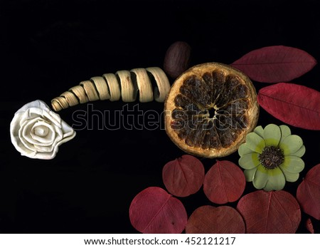 Dried aromatic flowers and leaves composition - stock photo