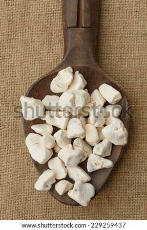 Dried Baobab fruit pulp. It can be dissolved into water to to make a vitaminic drink - stock photo