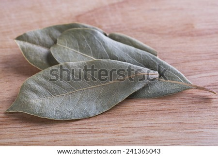 Dried bay leaves on wooden board. - stock photo