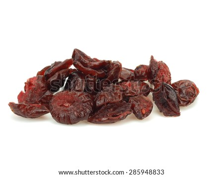 Dried berries of cranberry on a white background       - stock photo