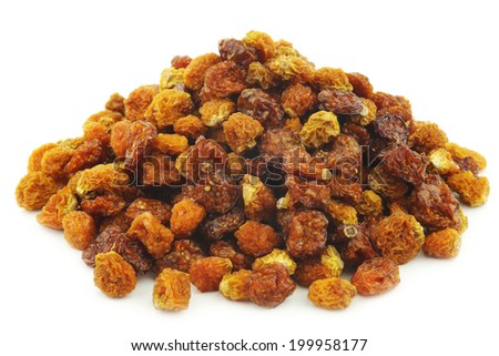 Dried Cape gooseberries ((Physalis peruviana) on white background - stock photo