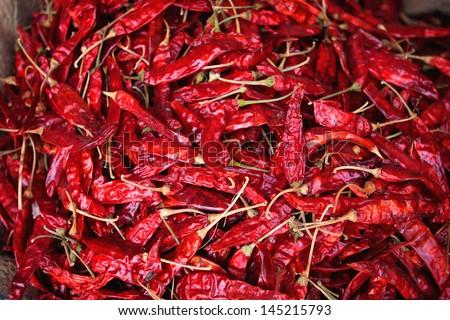 Dried chilli pepper spice market in India - stock photo