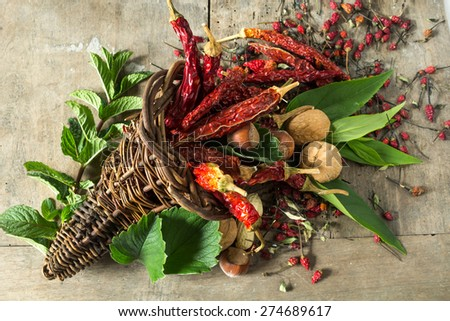 Dried chillies in horn of plenty - stock photo