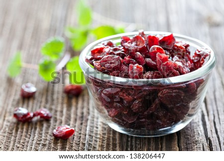 dried cranberries in a bowl - stock photo