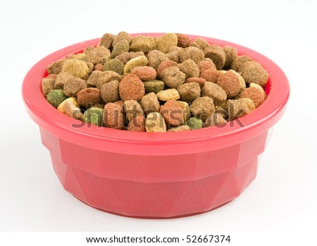 Dried dog food in a pink bowl isolated on white - stock photo