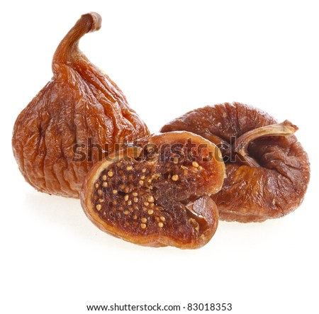 dried fig fruit on white background - stock photo
