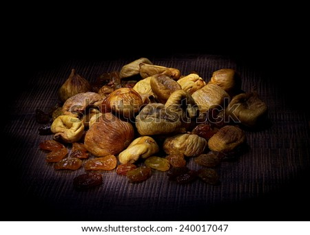 Dried figs and raisins white - stock photo