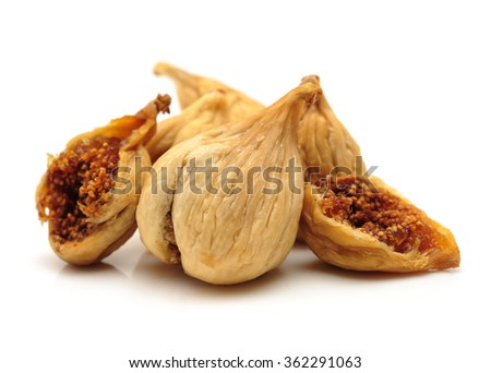 Dried Figs on white background - stock photo