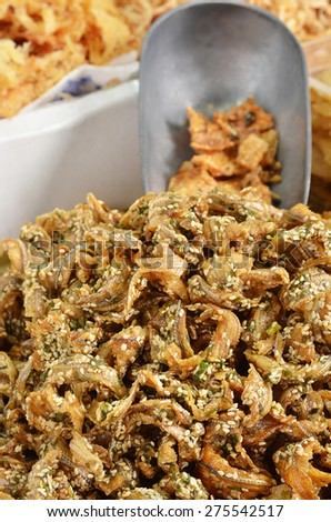 Dried fish at the market - stock photo