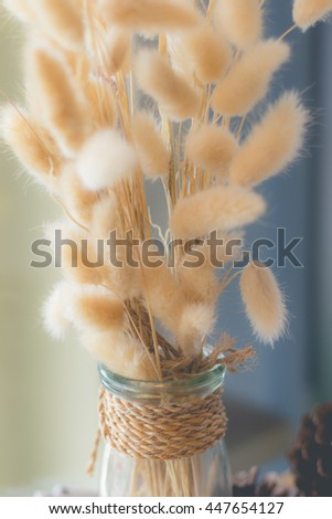 Dried flower in vase, Bouquet of dried flowers in vase. Dried flower for interior decoration. Interior object(vintage effect,selective focus) - stock photo