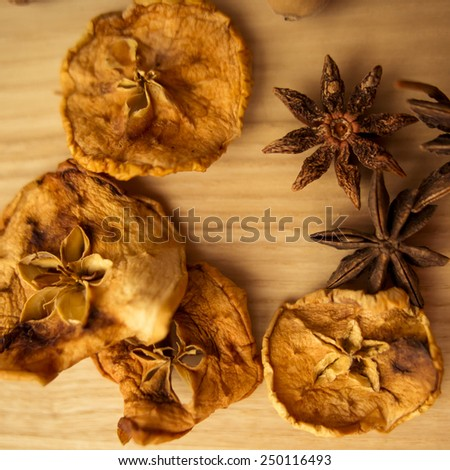 dried fruit and anise - stock photo