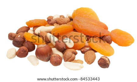 dried fruits and nuts isolated on white background - stock photo
