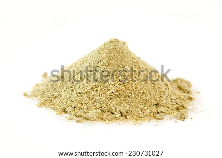 Dried garlic greens for cooking on white - stock photo