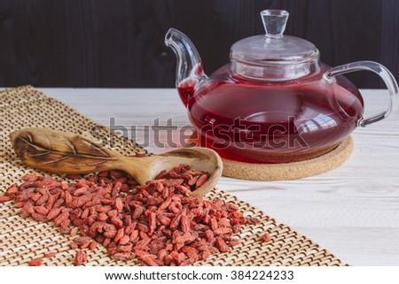 Dried goji berries tea - stock photo