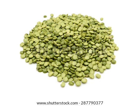Dried green split peas, isolated on a white background - stock photo