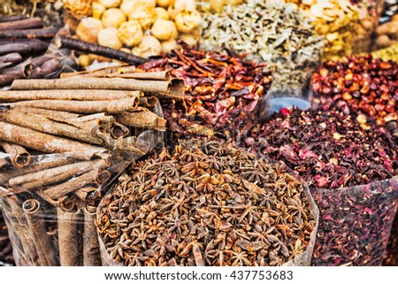 dried herbs flowers spices in the spice souq at Deira. UAE Dubai - stock photo