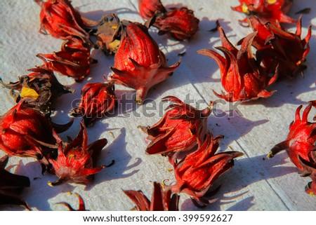 Dried hibiscus flowers / Hibiscus sabdariffa / Roselle / Healthy Food Alternative Medicine Drinks - stock photo