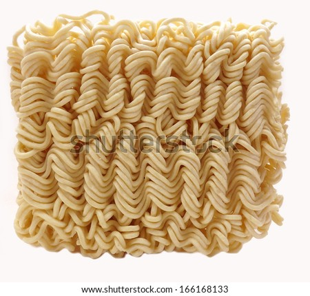 Dried instant ramen or soto noodles on white - stock photo