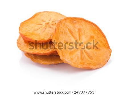 Dried Kaki fruit Dried Persimmon slice, isolated on white background. - stock photo